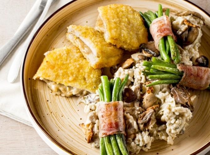 Kip champignon met risotto van boschampignons