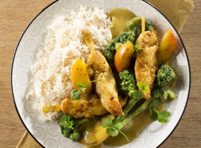 Brazade van kippenhaasjes curry