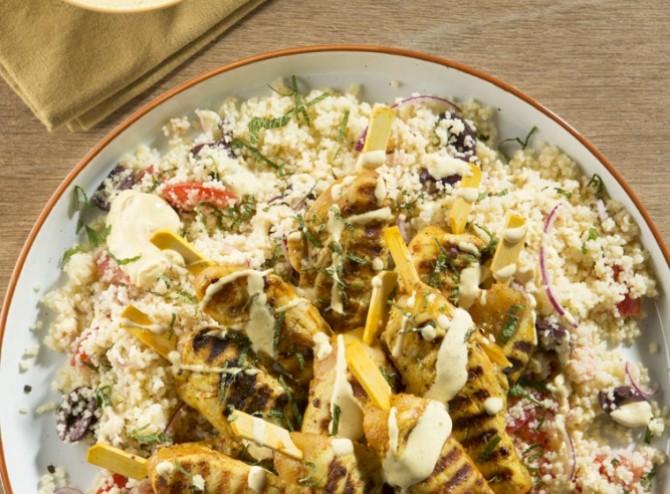 Brazade van kippenhaasje curry met couscous
